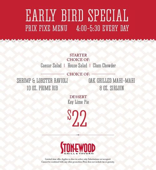 Stonewood early bird special